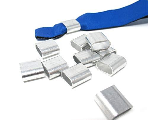 Alu Hülsen/Plomben für gewebte/bedruckte Stoff – Einlassbänder/Eintrittsbänder - 10 Stück