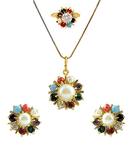 aabhu Navratan Stylish Gold Plated Pendant Necklace Set with Earrings, Ring, Chain for Women(Multicolour)