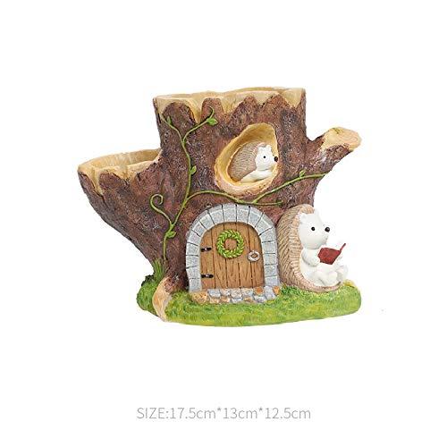 GeekGoodies Tree Trunk Pot Log Fairy Tale Village Series Resin Succulent Bonsai Sheep Moss Flower Pot House Office Decor Art Craft Accessories Home Design , Multicolour , Standard