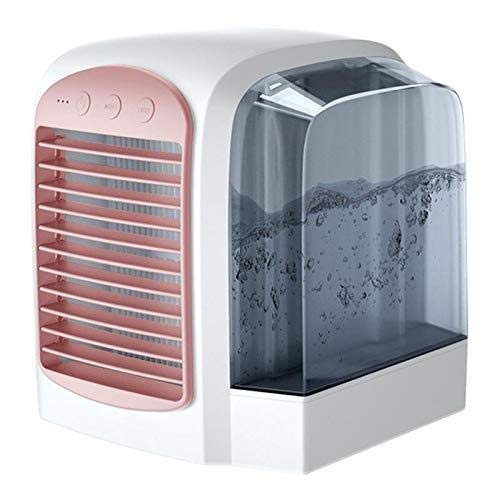 LG Snow Personal Air Conditioner Fan, Portable USB Air Cooler Desktop Cooling Fan with Independent Water Tank, 7 Colors LED & 3 Speeds for Home Office Car (Color : Pink)