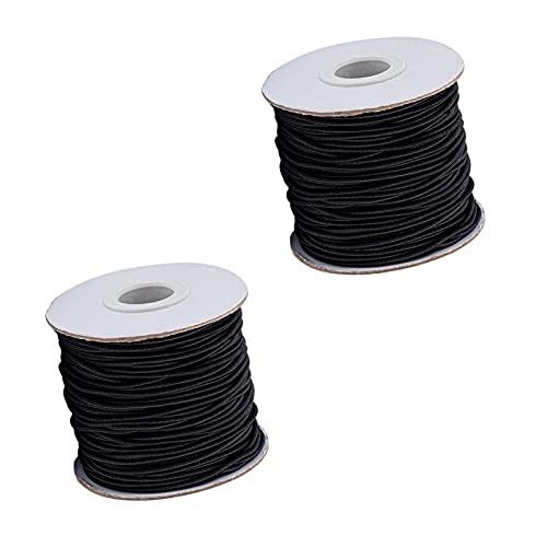 Moulding 2 Rollo de 1,5 mm Cable elástico de Nylon Cordones de Abalorios, Hilos de Cadena de Abalorios de Nylon, Cable deudas Negro para la fabricación de Joyas (Color : Black)