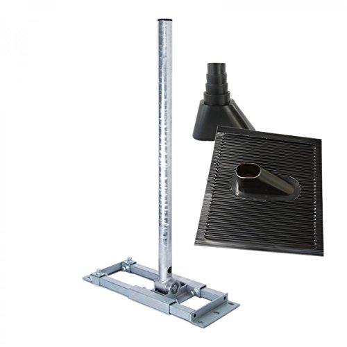 PremiumX Deluxe X130-48 Dachsparrenhalter 130 cm Mast für SAT-Antenne Satelliten-Schüssel Dach-Halterung ALU Dachabdeckung Manschette schwarz