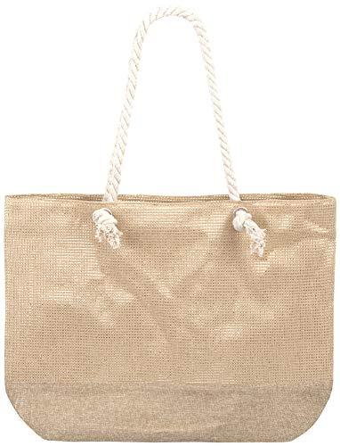 Compagno Strandtasche eingewebte Silber- Goldstreifen XXL Shopper Beach Bag mit breiter Kordel Schultertasche, Taschen Farbe:Sand