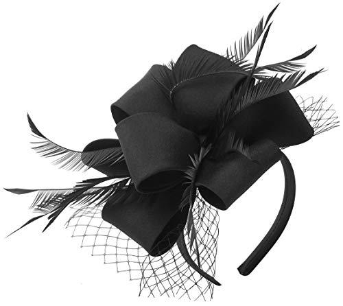 Myjoyday Fascinator Hats for Women Tea Party Wedding Headband Feather Cocktail Headwear Hair Clip (Black)