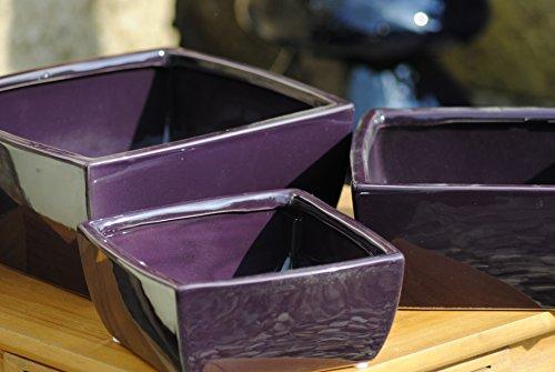 Kunert-Keramik Schale,eckig,Übertopf,aubergine,bis 25cm,3er Set!!