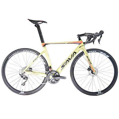 SAVADECK Scheibenbremse Rennrad 700C Carbon Rahmen Fahrrad mit Shimano 105 R7000 22 Gang Schaltgruppe und mechanische Scheibenbremse (Gelb,47cm (für 155cm-165cm))