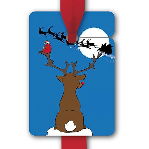 Kerstcadeauhanger, papieren hangers, cadeaukaarten (8 stuks) universele hangeretiketten voor Kerstmis met Rudolf en Kerstmis slee