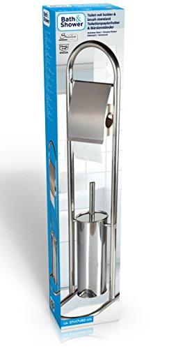 Bestway Porte-Papier Toilette et Brosse Standard, INOX, Chrom, 16,5x11,5x79 cm