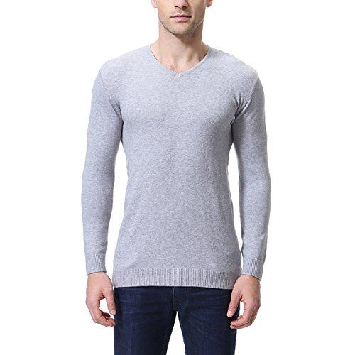 AOWOFS heren trui Basic Slim Fit effen gebreide trui met V-hals sweater voorjaar