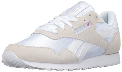 Reebok Women's Royal Nylon Fashion Sneaker, White/White/Steel, 7 M US