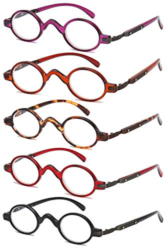 VEVESMUNDO Lesebrillen Herren Damen Retro Runde Klassische Vollrandbrille Arbeitsplatzbrille Vintage Klar Lesehilfe Sehhilfe Brillen mit Sehstärke (5 Stück Lesebrillen, 3.0)
