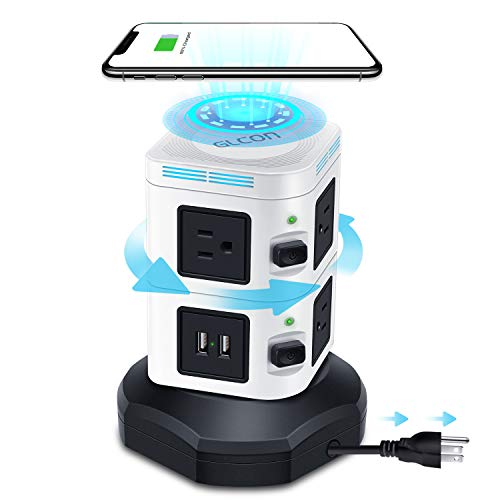 Power Strip Tower with USB Ports Multi Outlets – GLCON Surge Protector Fast Wireless Charger for iPhone Samsung Android – Extension Cord Charging Tower for Home Office Dorm Essentials (Black)