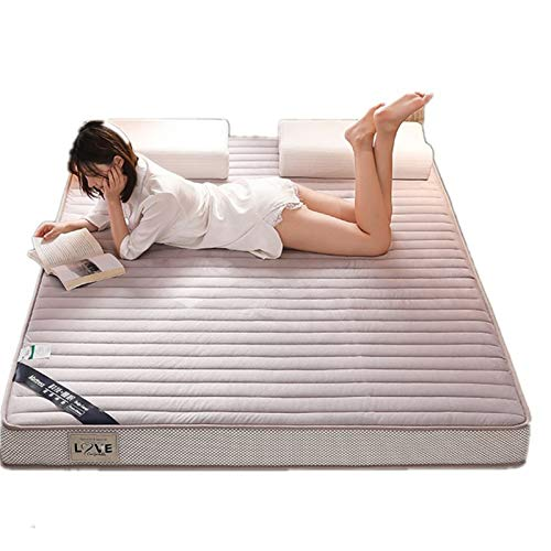 Colchón grueso de franela de látex, con espuma viscoelástica de rebote lento, apto para colcha familiar, cama de matrimonio, lana de invierno coral grueso S (tamaño: 150 x 190 cm, color: blanco)