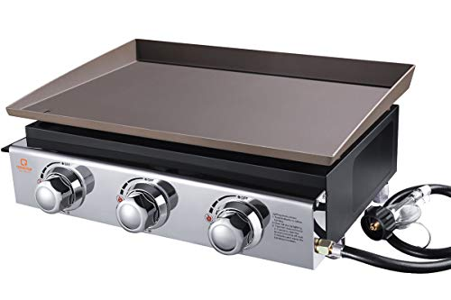 OT QOMOTOP 23-inch Gas Griddle, Outdoor Flat Top Grill with 355 Square Inches Cooking Area, 3 Burners Camping Grill, Party Grill with Stainless Steel Front Plate and Front Grease Trap, Flat Top Grill