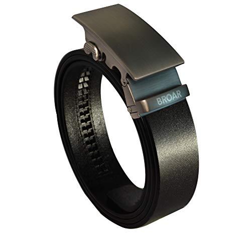 BROAR [Cinturones con engranaje de precisión] cuero de grano completo de una sola pieza [negro] sin agujeros hebilla deslizante automática [opciones personalizadas] 5 años garantía de calidad Plateado Smooth Brushed Front Logo Talla única
