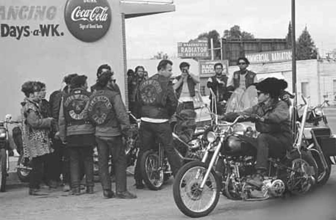 Photo Motorcycle Hell's Angels Gang Blackboard Cafe