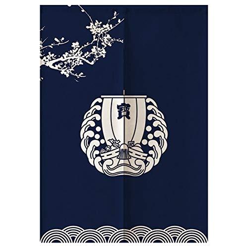 Cortina de puerta – estilo japonés decorativo con patrón de nave, cortina de media puerta, decoración de dormitorio, cocina, 85 x 120 cm