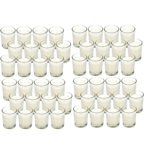Hosley 48 Pack Ivory Unscented Clear Glass Filled Votive Candles. Hand Poured Wax Candle Ideal Gifts for Aromatherapy Spa Weddings Birthdays Holidays Party (Warm White)