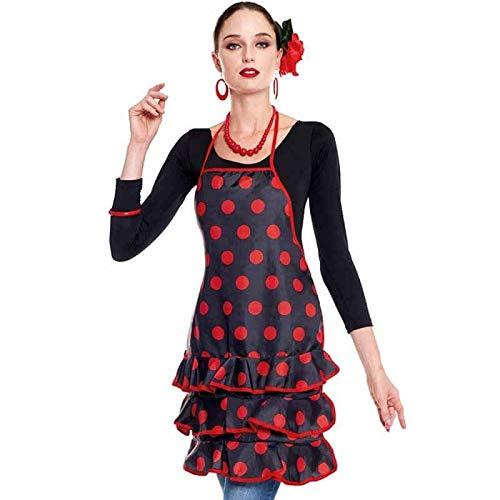 Delantal Sevillana Flamenca Lunares【Negro Lunares Rojos】| Accesorio Feria Abril Delantal Cocina Mujer Original 1 Unidad