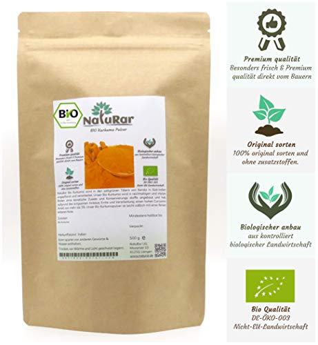 Premium Bio Kurkuma Pulver 500g   mit mehr als 3% Curcumin Anteil   Frisch gemahlen von Kurkumawurzel   Kontrollierter Biologische Anbau aus Indien   Verpackt und kontrolliert in Deutschland
