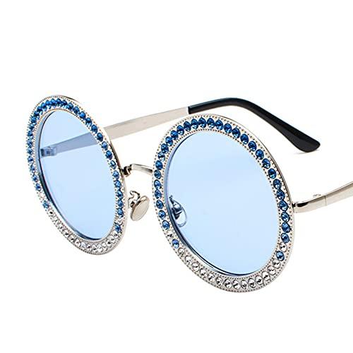 BAJIE Gafas de Sol, Nuevas Gafas de Sol Redondas con Diamantes, Gafas De Sol de Cristal de diseñador para Mujer, Gafas De Sol con Montura de aleación para Mujer, Color Gema