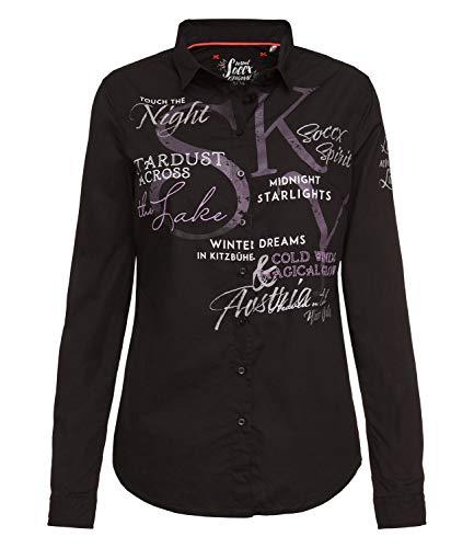 SOCCX Damen Bluse mit großen Logo-Applikationen