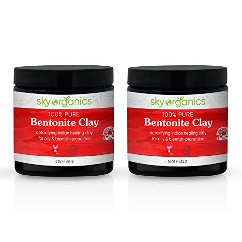 Bentonite Clay by Sky Organics (16 oz x 2 Pack) 100% Pure Bentonite Clay Indian Healing Clay Face Mask for Oily Blemish-Prone Skin Pore Purifying Face Mask Detoxifying Face Mask for Blemishes