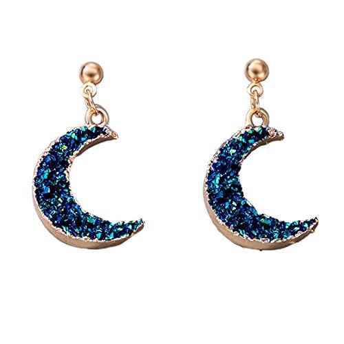 Yixikejiyouxian Pendientes de Estrella Azul Luna Pendientes Individuales Simples Adornos Pendiente de Moda Regalo Femenino del día de San Valentín
