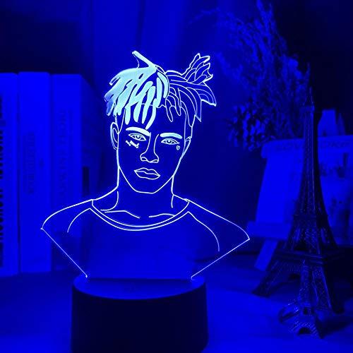 Lámpara de luz nocturna LED 3D American Rapper XXXTentación, figura LED, luz nocturna para ventilador, regalo, decoración de habitación, oficina, dormitorio, mesa, 3D, decoración de mesita de noche