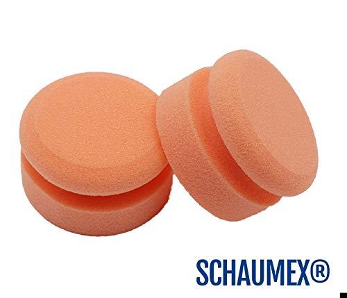 SCHAUMEX - Esponja de pulido a mano profesional para el coche - Con zona de agarre - Para usar con selladores, ceras y abrillantadores - Se puede limpiar fácilmente - Hecha en Alemania - Pack de 2