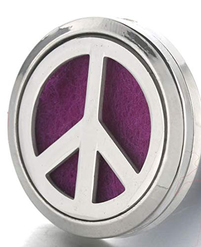 Aromabug Aromapin (Peace Sign) 22mm Personal Aromatherapy Essential Oil Diffuser Stainless Steel Locket Brooch. 6 High Fiber Pads and 3 Essential Oils Included.