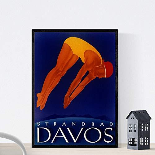 Vintage poster Nacnic. Vintage poster voor het openbare zwembad van Davos Lido. A4-formaat