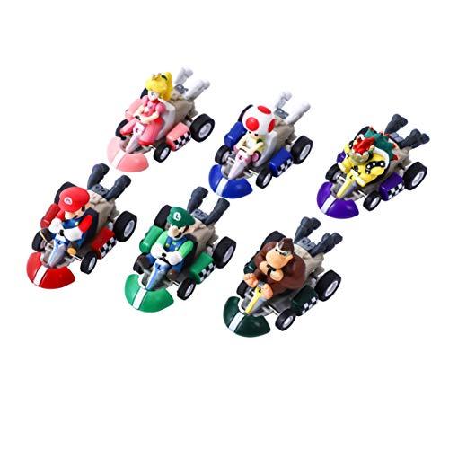 YNK 6 Stück/Set Super Bros Karts Spielzeug, Super Modell Spielzeug, Super Figuren Spielzeug Figuren Set, Kuchen Dekoration für Geburtstag Party Kinder