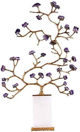 HCYY Glücksbaum Ornamente Großer Amethyst Edelstein Chakra Glücksbaum Mit Eigenschaften Phnom Penh Marmor Bonsai Feng Shui Glücksbaum Für Positive Energie Glück Bonsai Feng Shui Baum