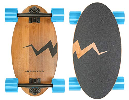 Eggboards Cruiser Skateboard Bamboo Longboard  Wide Small Bamboo Skateboards Ride Like Longboards Complete Longboard for Adults and Kids 19 inches Long Skate Board Deck in Wood