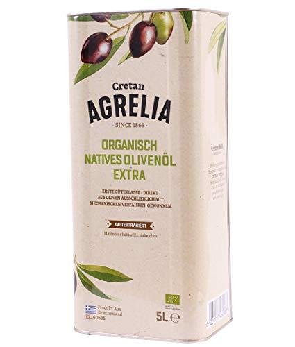 BIO Olivenöl 'Agrelia' 5,0l Kanister von Kreta | Extra natives Bio Olivenöl | Kaltgepresst | Aus Griechenland | Almpantakis Family seit 1866 | DE-ÖKO-037