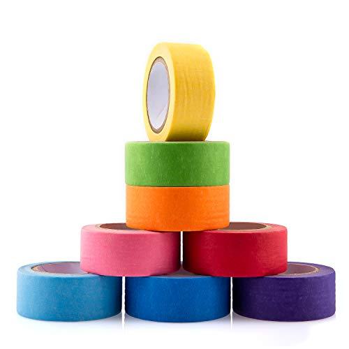 AIEX 15 mm Breit 8 Rollen Farbiges Klebeband Regenbogen-Klebeband Masking Tape Set Beschreibbar für Bastelarbeiten DIY Barbcodiert 8 Verschiedene Farben