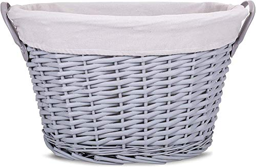 green leaves Wicker Toys Collection Laundry Basket Bathroom Storage Grey 52 cm 38 cm Depth 30 cm Without Handle Base Size: Length 39 cm Width 25 cm