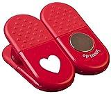 5 Küchen Tütenklammern bzw. Magnet-Clips in Rot mit Herz als Danke-Zeichen