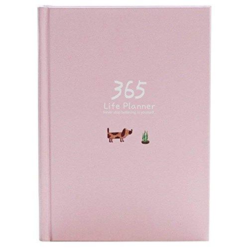 Planificador diario, organizador personal de Year A5 Life 2019 para hábitos y objetivos, 114 hojas / 228 páginas (rosa)