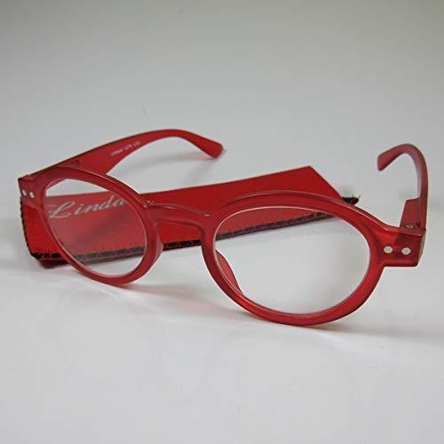 LINDAUER Klassische Lesebrille +2,0 rot Fertigbrille für SIE & IHN Flexbügel