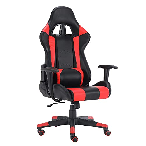 DreamWorksFurniture Gaming Chair Racing Office Computer Game E-Sports Chair Ergonomic Backrest and Seat Height Adjustment Recliner Swivel Rocker with Lumbar Pillow Support Chair, Red