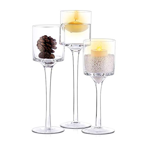Candle Holders Clear Glass Tea Light Candlestick Dining Weddings Parties Home Decor Candle Stand Simple Modern Candle Cup 3 Pcs