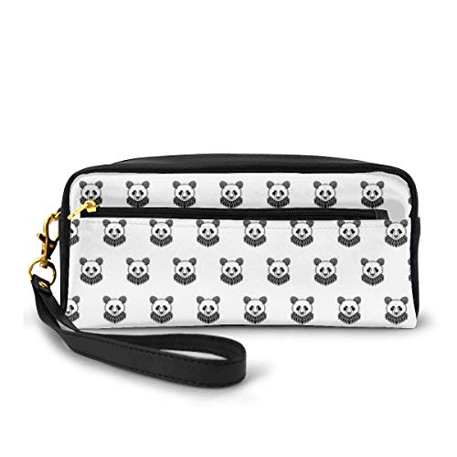 Pencil Case Pen Bag Pouch Stationary,Stylized Panda Bear Portraits Cute Mascots Pattern for Children in Black and White,Small Makeup Bag Coin Purse