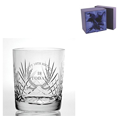 Knip Crystal 9oz Whisky Glass met Happy 18th Birthday Wreath Design - Zijde gevoerde Presentatie Box inbegrepen