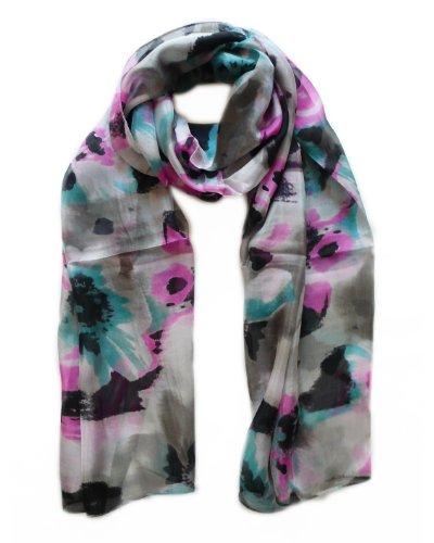 LIDA LYDI Schal Chiffon aus 100% Seide, 180cm x 70cm. Farbe grau, schwarz, Ente, violett rot.