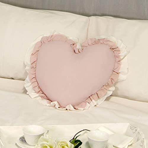 Cojín Decorativo en Forma de Corazón con Volantes, Almohada Decorativa, Funda de Cojín, Cojín con Relleno Romántico Rústico Shabby Chic - Volantes - 50x45 - Rosa Polvo/Marfil