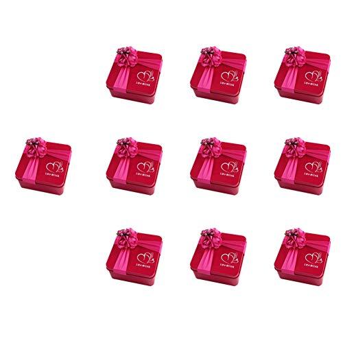 Cratone cajas de regalo de caramelos con forma cuadrada, multifuncional, contenedores de almacenamiento para recuerdos de boda, latas de metal vacías, rosa (b), 6.5 * 6.5 * 4.5CM