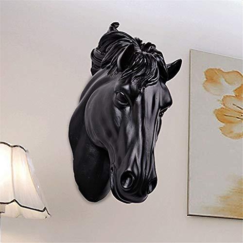Design Baumelnde Statue Ständer Pferde Kopf Wandbehang 3D Tier Dekorationen Kunst Skulptur Figuren Harz Handwerk Hause Wohnzimmer Wanddekorationen 14 * 9 * 30 CM