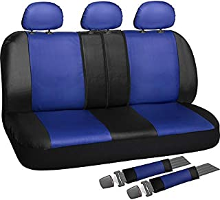 Motorup America Full Set Leather Auto Seat Cover - Fits Select Vehicles Car Truck Van SUV - Blue & Black